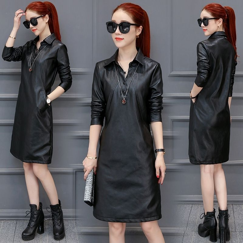 Women's Clothing Slim Fit Pu Dresses High Imitation Leather Dresses Elegant Women's Dresses Women's Spring Clothing