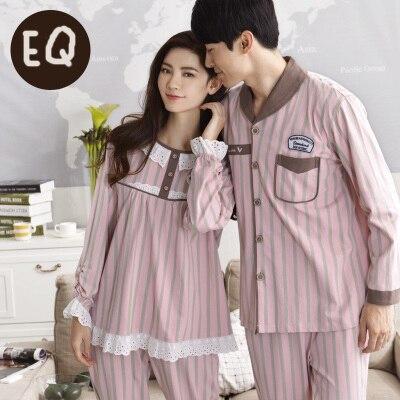 Nuevo llegan ocio 100% algodón Turn Down collar manga larga Rosa color  parejas homewear ca1ae82a340