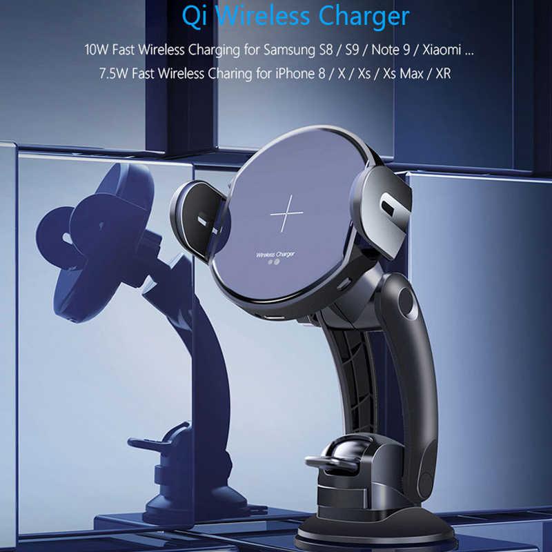 DCAE rápido de carga 15 W Qi coche cargador inalámbrico para iPhone XS Max XR 8X8 Plus Samsung S8 s9 automáticos infrarrojos soporte de teléfono