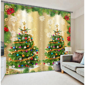 3D Christmas Tree Planting Curtains Decorative for Home Textile Luxury  3D Sunshade Curtain Customize Size Gift for Christmas
