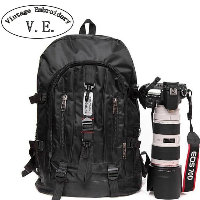 Vintage Embroidery Fashion arcuate shoulder strap zipper solid casual bag male backpack school bag Nylon bag designer backpacks