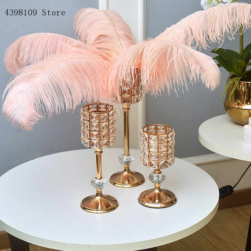 Crystal glass golden candlestick Nordic living room decoration romantic wedding hotel model room decoration candlestick