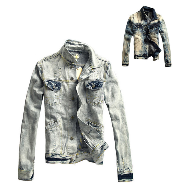 Unique Men Denim Jacket Washed Distressed Vintage Cowboy Outerwear ...