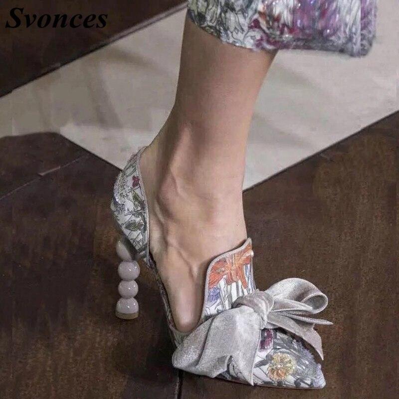Shown Femme Pompes Robe Bowtie Chaussures Svonces as As Pointu Imprimé Mariage Piste Perle Bout Floral Hauts Talons De Shown Slip Élégantes on 2018 Bq6Tq