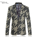 Men's Geometry Print Suit Blazers Slim Fit Thick Woolen Menswear Male Fashion Costume Party Men Jacket Coat Big Size 5XL S139