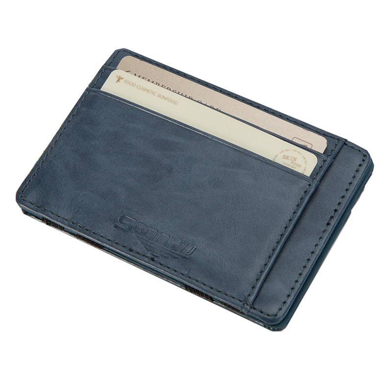 New Fashion Mini Men's leather magic wallet women Slim purse with credit card holder for man 5 colors leather slim credit card holder id card case holder useful purse with neck strap