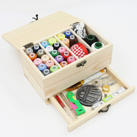Multifunction Wood Household Storage Sewing Kit Needle Tape Measure Scissor Thread Sewing Tools Set For Home & Travel DIY Tools