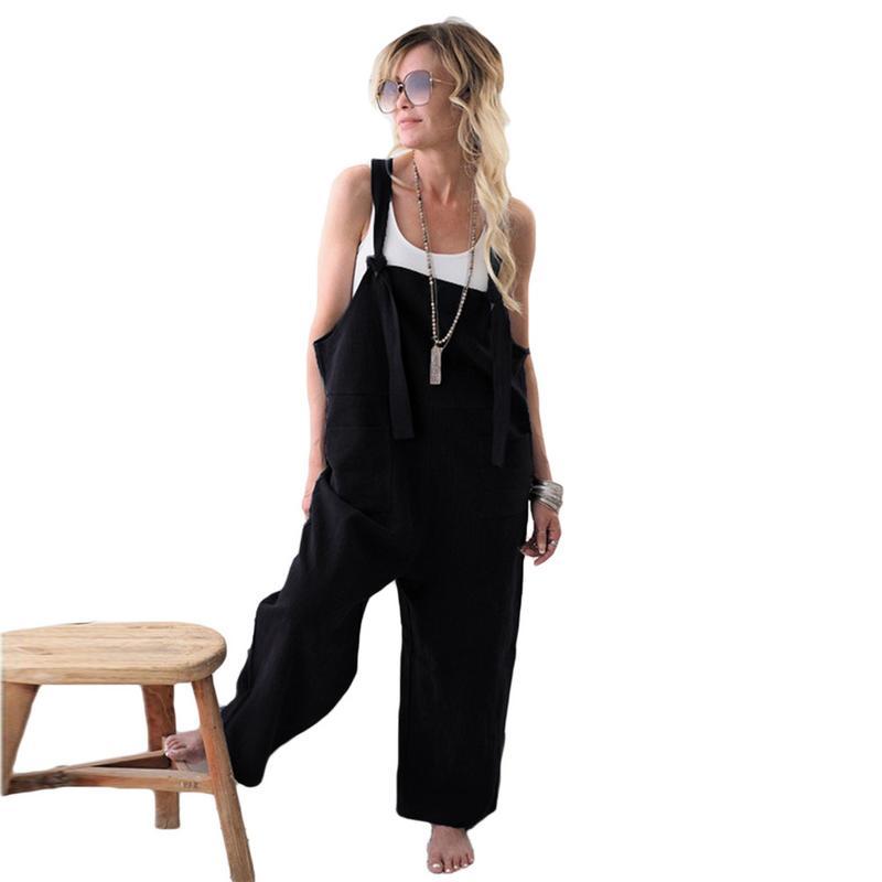18da35d506f 2018 New Womens Casual Loose Linen Pants Cotton Jumpsuit Strap Harem  Trousers Overalls Overalls Loose Harem Pants Trousers-in Jumpsuits from  Women s ...