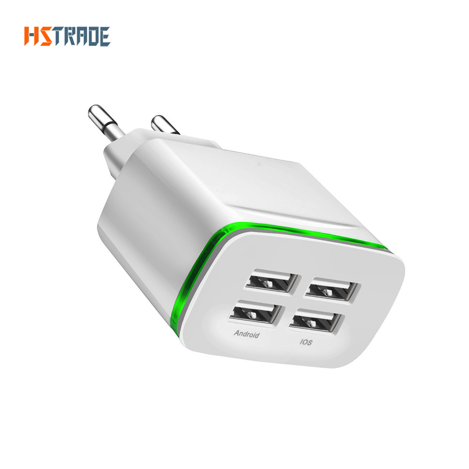 Universele Oplader Telefoon Universele 4 Port Usb Charger Adapter 4a Reizen Lading Led Lamp Plug Multi Port Hub Oplader Voor Iphone Ipad Samsung Xiaomi Redmi
