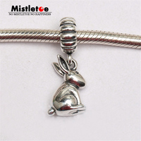 Authentic 925 Sterling Silver Zodiac Rabbit Dangle Charm Fit Brand Bracelets Jewelry