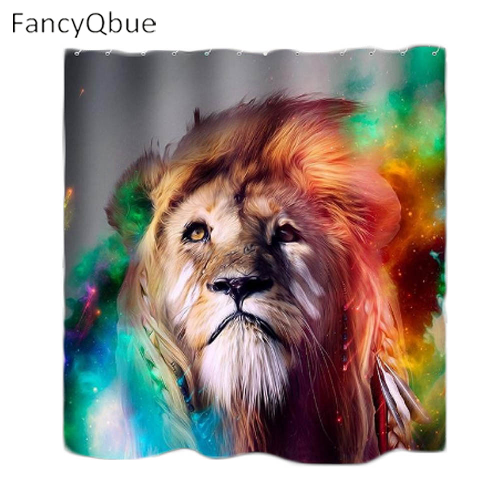 High Quality Modern Waterproof Douche 3D Multicolored Lions Shower Curtain Bathroom Lion Curtains For In From Home Garden
