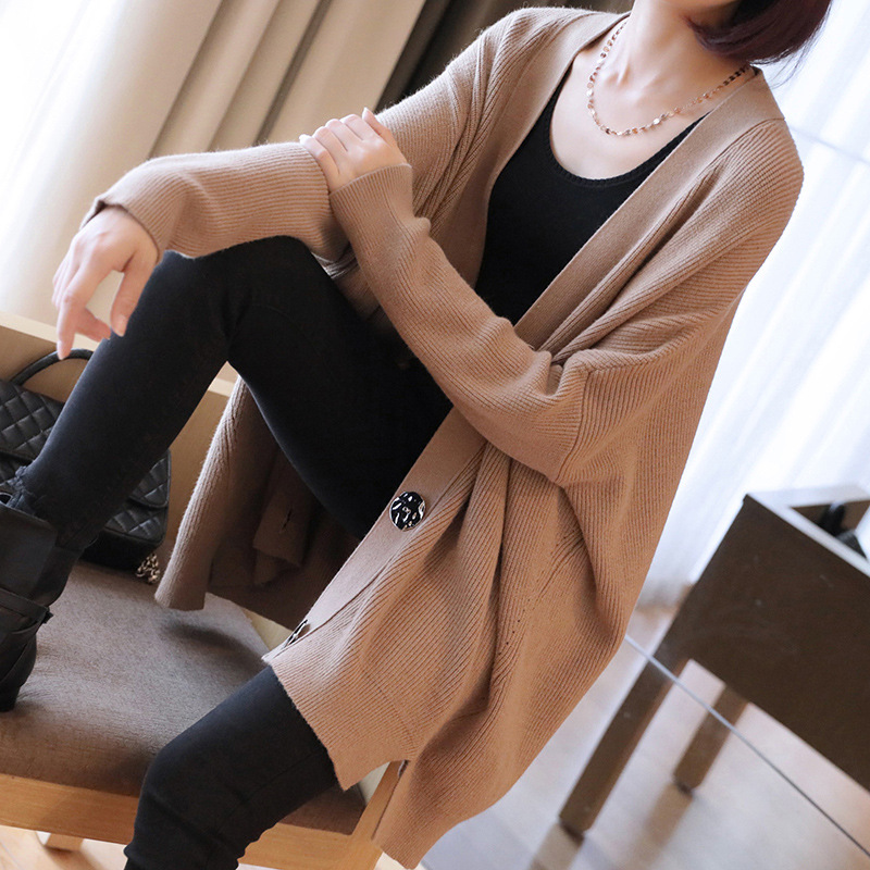 Autumn and winter fashion lazy wind sweater jacket 2018 new women's long loose sweater cardigan autumn