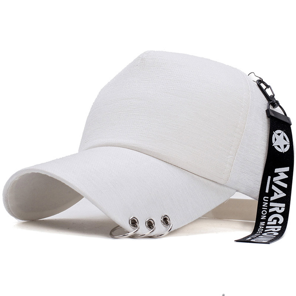 SINXE Fashion Iron Ring Korean Hat Women Men Baseball Caps Breathable Dad Hats Hip Hop Bone Summer Face Cap