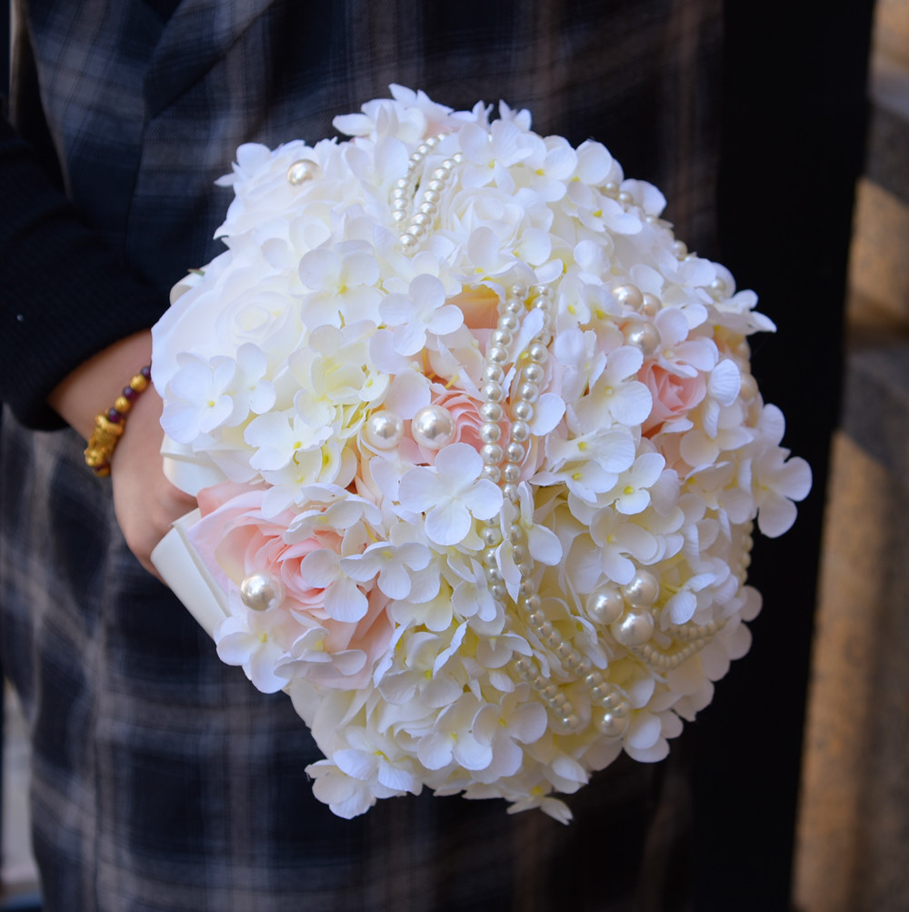 Kyunovia Silk Hydrangea Flower Bouquet Pearl Artificial Rose Bridal