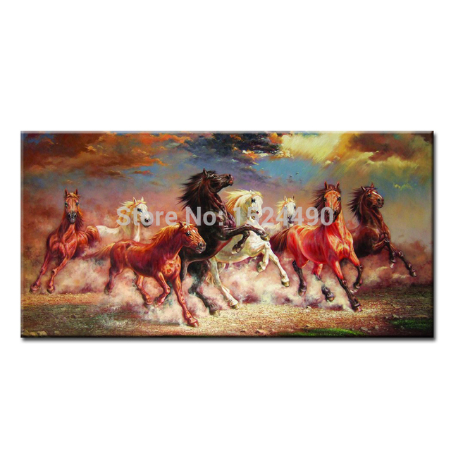 Eight horses oil painting hand-painted horse atmosphere murals office living room porch paintings for home decoration 50x100cm