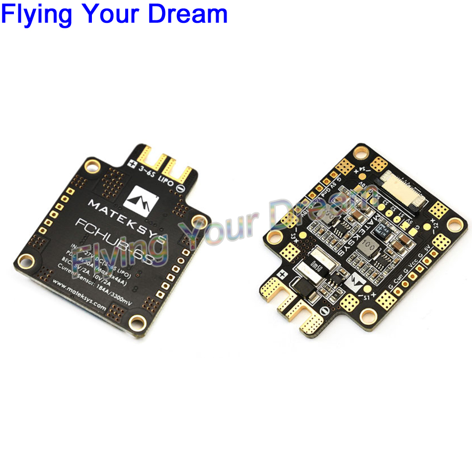 купить Matek FCHUB-6S Hub Power Distribution Board PDB 5V & 12V BEC Built-in 184A Current Sensor For RC Multicopter по цене 503.86 рублей