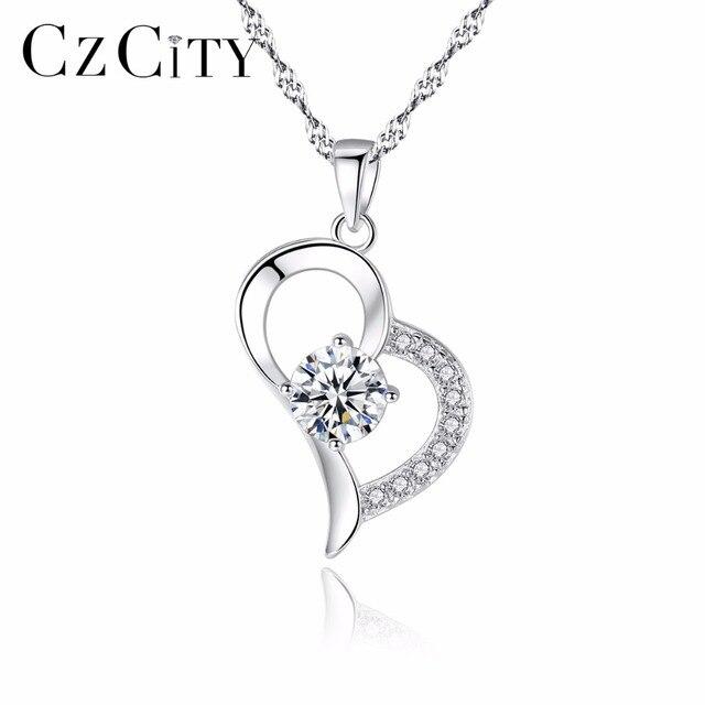 CZCITY Clear Cubic Zirconia Delicate Heart Shape Pendant with Chain Women's Neck