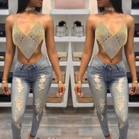 Sexy Rhinestone Halter Crop Tops Patchwork Gold Silver Metal Chain Hollow Out Party Shiny Deep V Neck Backless Camisoles