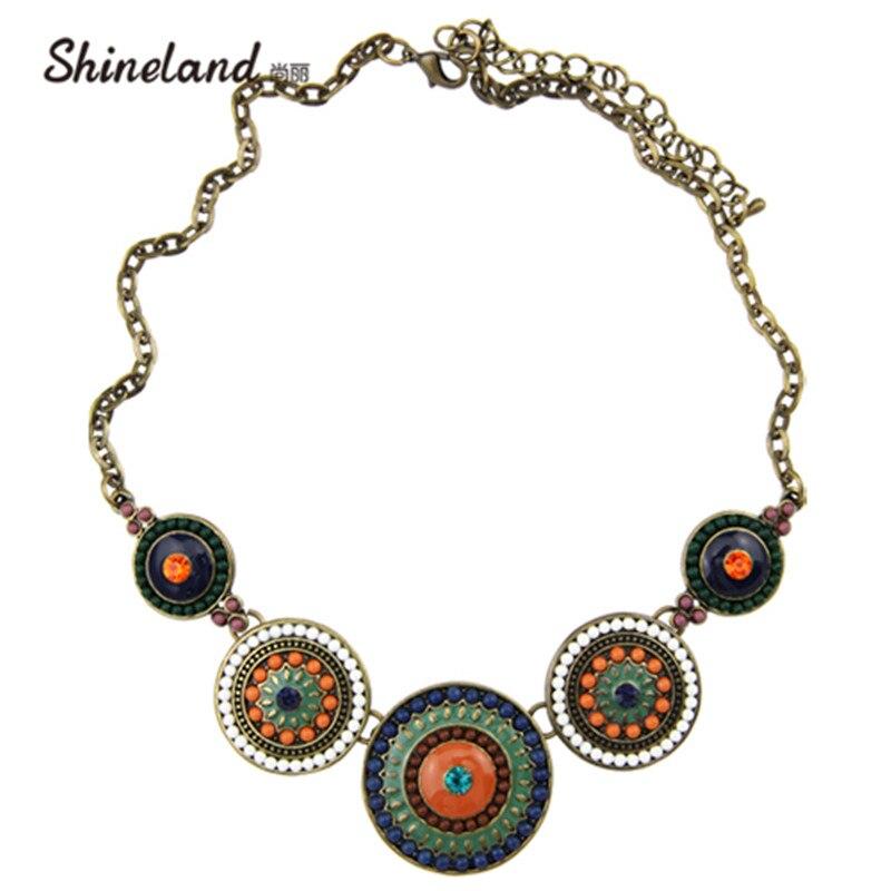 Shineland-collier à perles colorées   Nouveau mode femme Punk Antique, BronzeColor, pendentifs en gros chaînes, collier de déclaration, 2020