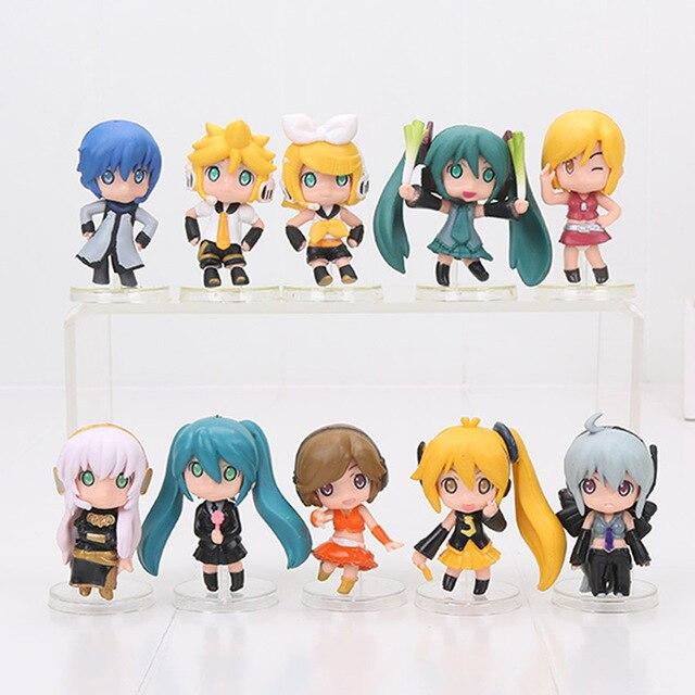 10pcs Set 6cm Anime Hatsune Miku Nendoroid Lily Haku Luka Meiko Petit Vocaloid Figure Good