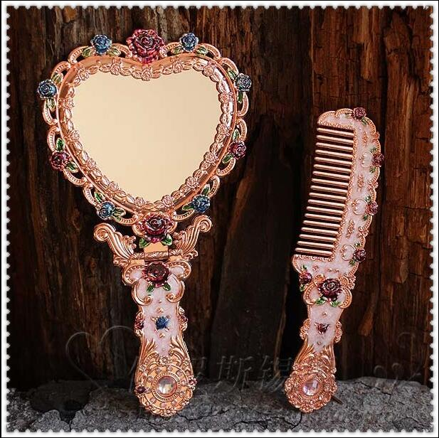 Permalink to European vintage heart shape hand mirror makeup mirror frame pocket mirror for girl gift J034