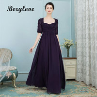 BeryLove Dark Purple Mother of the Bride Dresses 2019 Sleeves Long Beaded Appliques Mother of the Bride Gowns For Wedding Party