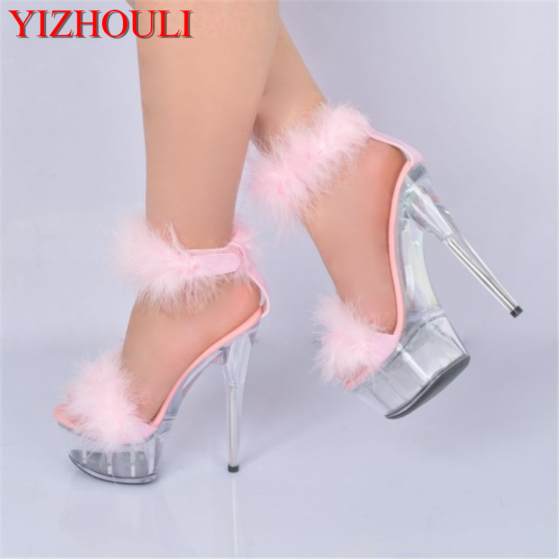 6 inch Plus Size Crystal Ankle Strap 15CM Sexy Super High Heel shoes Platforms Pole Dance shoes white feather christmas sandals white black 15cm super high heel platforms pole dance performance star model shoes wedding shoes