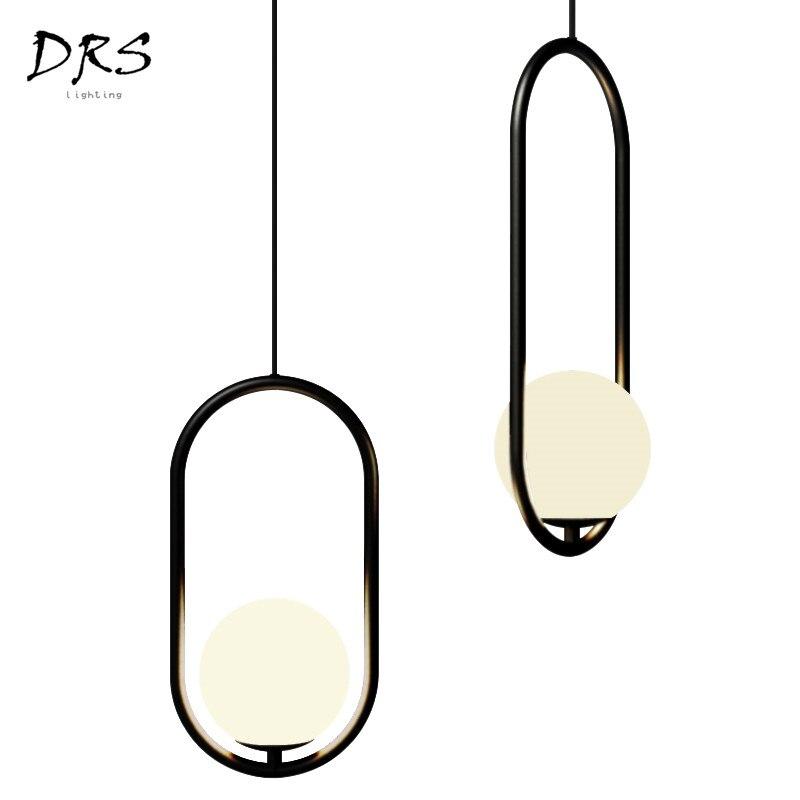 Vent industriel Restaurant lustre éclairage Simple moderne fer barre café suspension lampe chevet boule de verre Lampara Para Comedor