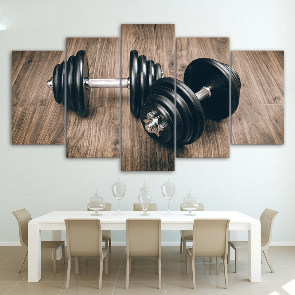Wall Art Canvas Pictures Modern Living Room Frame 5 Pieces Fitness Gym Sports Dumbbells Home Decor Painting HD Printed Poster