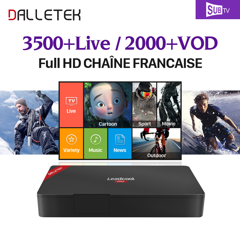 Leadcool Pro French IPTV Box Full HD 2GB/16GB Android with 1 Year SUBTV Belgium Canada Arab IPTV Channels VOD IPTV subscription