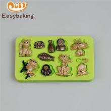 New Cats & Fish Shaped Silicone Mold Cake Decoration Fondant Cake Tool with Food-contact Safe Material(China)