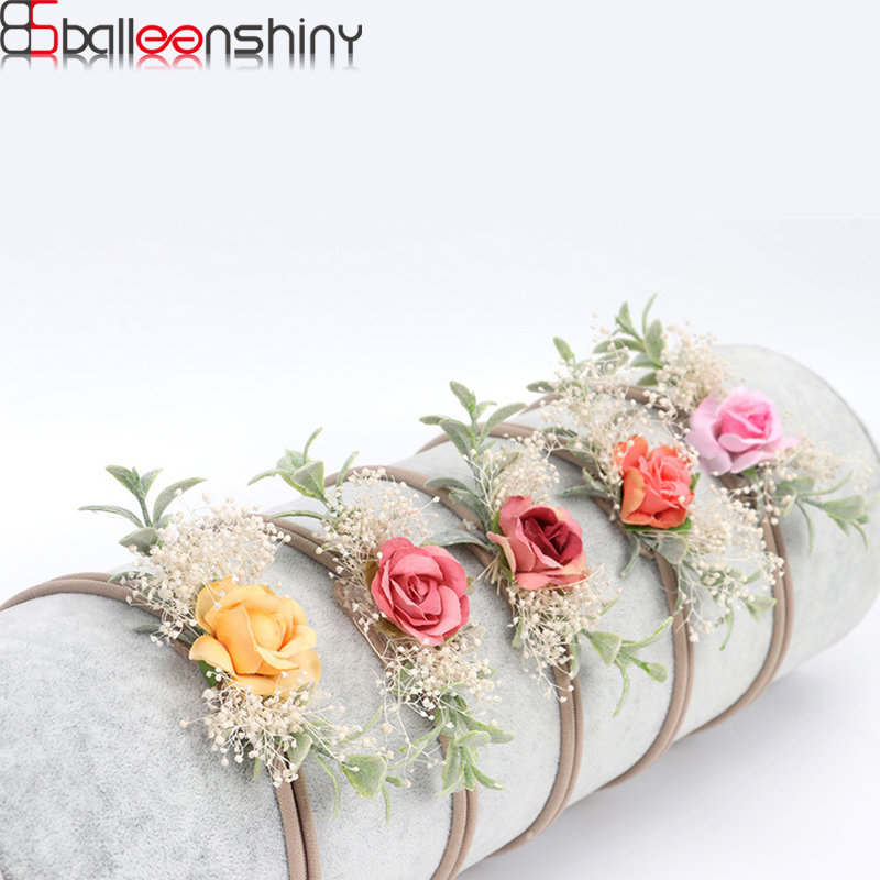 BalleenShiny Newborn Baby Flowers Head Band Toddler Baby Girls Elastic Nylon Headwear Kids Head Accessories Photograpy Props