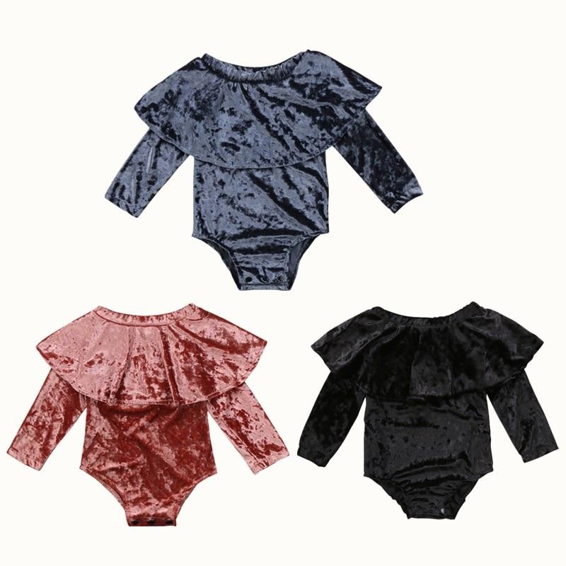 Newborn Toddler Baby Girl Velvet Off Shoulder   Romper   Tops Summer Kids Girls Sunsuit Ruffles   Rompers   Jumpsuit Clothes Clothing