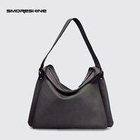 SMORESHINE High Grade PU Leather Women S Handbags Female Rivet Design Shoulder Bag Ladies Three Tier