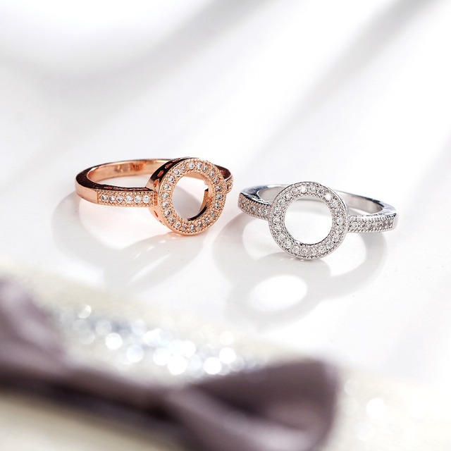17KM Fashion Female Round Finger Rings For Women Lover Wedding Jewelry Party Trendy Rose Gold Sliver Color Ring Wholesale 3