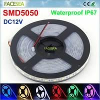 5 מטר\חבילה SMD5050 LED רצועת DC12V 60LED/M IP67 צינור סיליקון עמיד למים RGB LED הרצועה