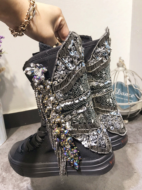 Zapatos Rivet up Décor Pic Femme Appartements Toile Tenis Cristal De Mujer Dentelle Feminino Chaussures Matal 2018 As RqwgSRr4