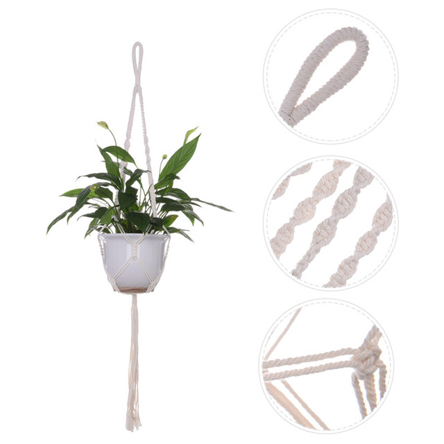 Purely Hand Knitting Natural Cordage Plant Hanger Basket Flower Pot Hanging Rope Holder String  Wall Home Garden Balcony Decor