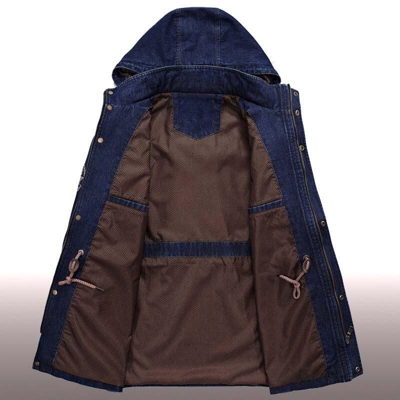 Autunno Inverno Cowboy Cappotto Degli Uomini Giacca di Jeans Del Ricamo Con Cappuccio Denim Trench Big Size Cotone Sciolto Giacca A Vento Maschile Vestiti-in Giacche da Abbigliamento da uomo su  Gruppo 3