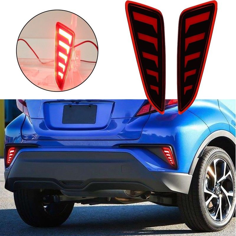 1 Pair Car Rear Fog Lights LED Bumper Tail Light For Toyota CHR C HR 2017 2018 Exterior Accessories Reflective Strips New