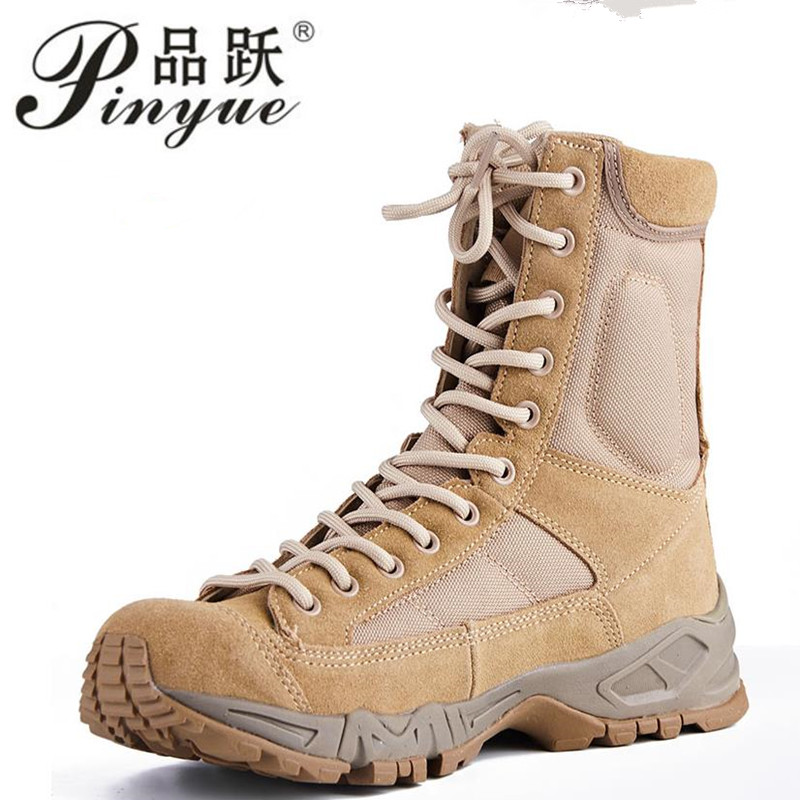 New Sport Army Men Combat Tactical Boots Outdoor Hiking Desert Leather Ankle Boots Military Male Combat