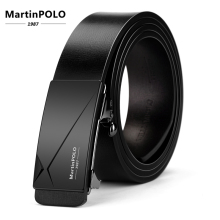 MartinPOLO Automatic Genuine Leather Mens Business Belts Men Toothless Belt Alloy Buckle Cowhide Strap For Male MP01301P