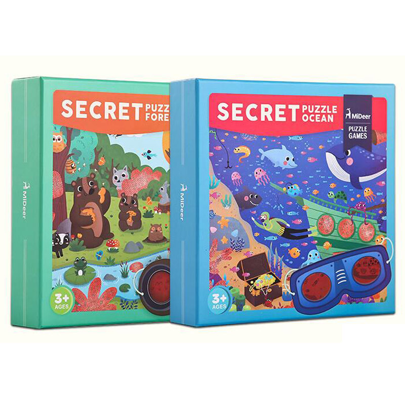 Secret Puzzle-Forest Secret Puzzle-Ocean 35 Pcs with Perspective Glasses Paper Puzzle Learning and Education Toys Gifts image