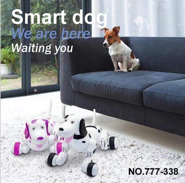 Alta calidad y nuevo encanto negro inteligente robótico caminando electrónico perro niños amigo juguete con música luz caliente