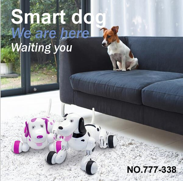 Квалитетне и нове љупке црне роботске интелигентне интелигентне играчке за шетање паса за децу са музичком светлошћу