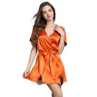 XL женские шелковые халаты 2017 Лето модный бренд с коротким рукавом Мини Свободные кружевные пикантные 100% шелковый халат негабаритных женски