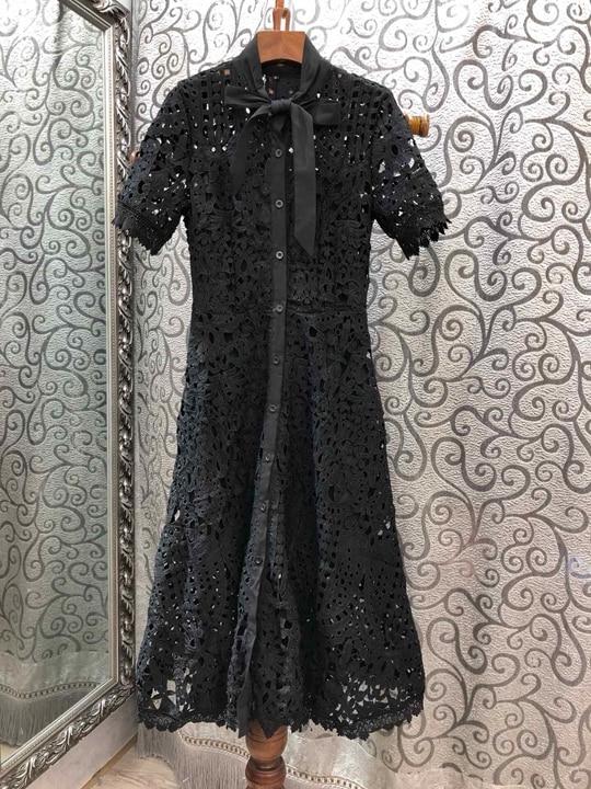 Noué Printemps blanc De Et D'été Femmes Courtes Manches Creux 2019 0318 Noir Robes Collier Nouvelles g00drA