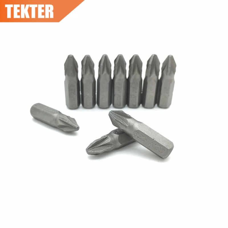 TEKTER 10 Pieces Chrome Vanadium Cr-v Steel #2 Pozi Screwdriver Bits 25mm Hex Shank Torque PZ2 Screwdriver Tool Set Chave