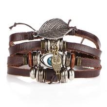 2017 Boho Women Fashion Leather eye Bracelets&Bangles Multi-storey Wristband Anchors Jewelry Vintage Charm Pulseira Masculina