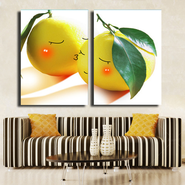 2 Piece Yellow Lemon Canvas Oil Wall Art HD Painting Home Decorative ...